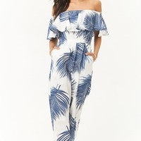 Palm Leaf Print Off-the-Shoulder Jumpsuit