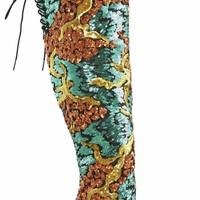 Nelly Celebrity Copper & Green Sequin Open Toe Thigh High Boot