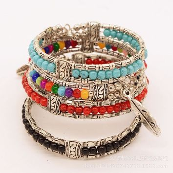 Shiny Gift Hot Sale Great Deal New Arrival Awesome Accessory Stylish Silver Turquoise Feather Bracelet [302110867497]
