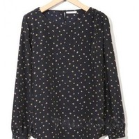 Black Round Neck Small Bow Long Loose Shirt  style shirt065 in  Indressme