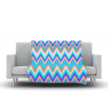 "Nika Martinez ""Girly Surf Chevron"" Fleece Throw Blanket"