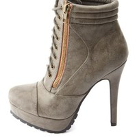 Lug-Soled Zip-Up High Heeled Combat Booties - Taupe
