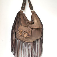 Large tribal leather raw edges rusted brown hobo gypsy larp elvish bag bohemian fringed bag fringe tote large tattered rusted post apo bag