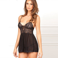 Hot Deal On Sale Cute Sexy Spaghetti Strap Black Lace Backless Transparent Underwear Exotic Lingerie [6596443203]
