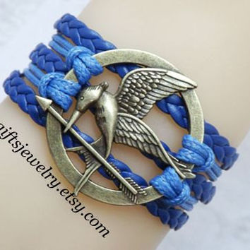 Hunger inspired games jewelry,catching fire jewelry,Mockingjay pin bracelet,hipster jewelry,charm,couple jewelry,Navy Blue