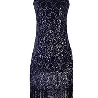 1920s Sequin Paisley Racer Back Tassels Flapper Cocktail Dress
