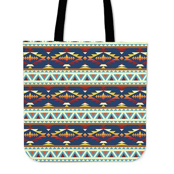 Native American Print Linen Tote Bag
