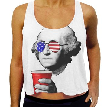 4th of July Crop Tank - Drinking American Flag George Washington Crop Tank Top - Patriotic Party Shirt, Summer Tank, USA Merica Tank