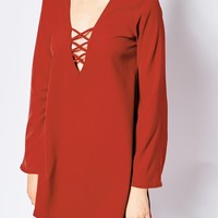 Motel Swing Dress With Lace Up & Flare Sleeves at asos.com