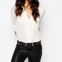 River Island Western Belt With Gold Buckle