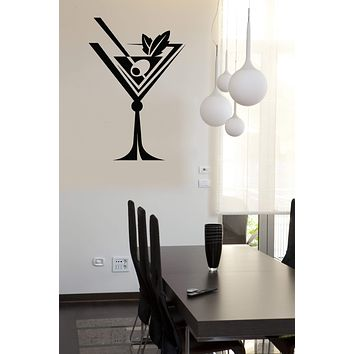 Wall Vinyl Decal Wall Glass Drinks Collection Martini Cocktail Cafe Decor (n849)
