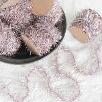 Tinsel Garland - Pink Vintage Style Christmas Trim, 12 Foot Spool