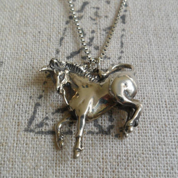 Sterling Silver Unicorn Necklace Estate 925 Italian Silver Unique Goth Fantasy