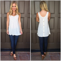 State Of Mind Button Tank - Cream