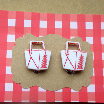 Chinese Take Out-clip on Earrings-Chinese Food Jewelry-Miniature Food-Novelty Food Earrings-Chinese food studs-Novelty Jewelry- Kawaii,