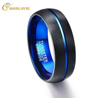 Party Ring Round Blue Groove Men Rings Tungsten Carbide Wedding Bands Anillos para hombres Male Pierscienie