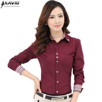 Good Quality Women's Clothes TurnDown Collar Dress female Shirt Long Sleeve Lady Professional Formal Blouse Plaid Patchwork Tops