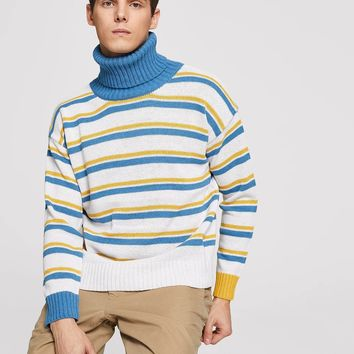 Men Striped High-Neck Jumper