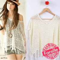 Japanese VIVI Boat Neck Off Shoulder Tassel Fringe Crochet Knit Hook Cape Cloak