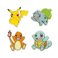 Pikachu Bulbasaur Charmander Squirtle Pokémon Pins (4 Pack)