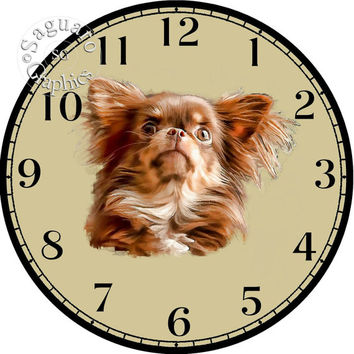 """Chocolate Long Haired Chihuahua Simplify Drawings Art -DIY Digital Collage - 12.5"""" DIA for 12"""" Clock Face Art - Crafts Projects"""