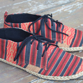 Vegan Mens Oxfords Lace Up Shoes In Tribal Naga Textiles