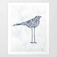 Floral Bird Art Print by Janelle Krupa