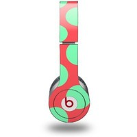 Kearas Polka Dots Green On Salmon Decal Style Skin fits Beats Solo HD Headphones - (HEADPHONES NOT INCLUDED)