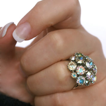 Vintage Rhinestone Sarah Coventry Ring Aurora Borealis Adjustabe Silver Tone Cluster Ring