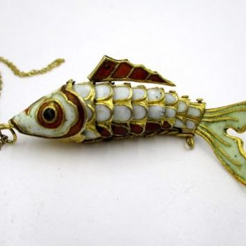 Chinese Antique Sterling Silver Enamel Articulated Fish Pendant Necklace