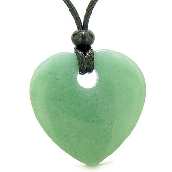 Amulet Large Lucky Heart Donut Shaped Charm Green Quartz Gem Pendant Spiritual Healing Powers Necklace
