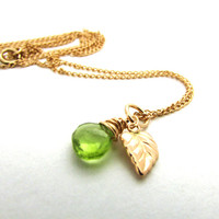 Peridot necklace with leaf, August birthstone necklace, lime green peridot pendant, wire wrapped, gold filled leaf charm