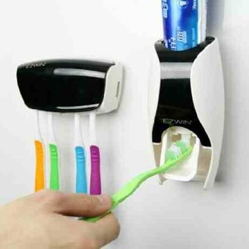 Automatic Toothpaste Dispenser and Toothbrush Holder Set
