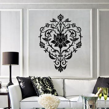 Vinyl Wall Decal Lotus Flower Floral Art Pattern Ornament Stickers (286ig)