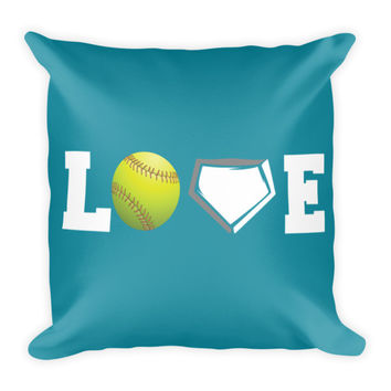 "Softball Pillow 18"" Square - Love Softball Teal"