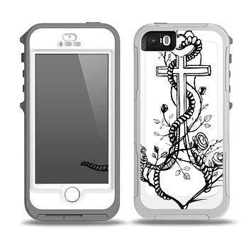 The Black and white Anchor with Roses Skin for the iPhone 5-5s OtterBox Preserver WaterProof Case