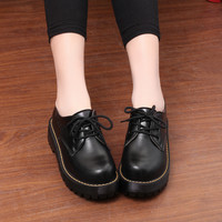 GTIME British Style Women Oxfords New Spring Winter Lace-Up Flats Round Toe Creepers Casual Ladies Platform Shoes Woman # ZH20