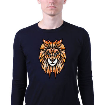 Geometric Lion Face Head Triangle Art Abstract Animal Design Long Sleeve T-shirt