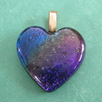 Royal Blue Purple Heart, Lovers Jewelry, Dichroic Heart, Valentines Jewelry, Gift for Girlfriend - Sweetums - 4615 -4