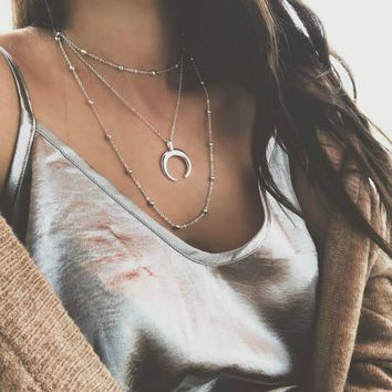 RONGBIN 2018 New Fashion 3 Layers Chain Necklace Horn Necklace Crescent Moon Necklace Boho Jewelry Minimal Girlfriend Gift