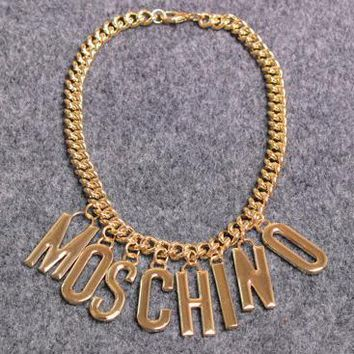 MOSCHINO letters Metal thin waist chain waist belt golden