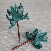 8 Large Palm Tree Cupcake Cake Toppers Tropical Beach Party Decoration