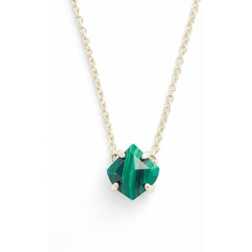Kendra Scott: Annaliese Pendant Necklace In Green Calsilica