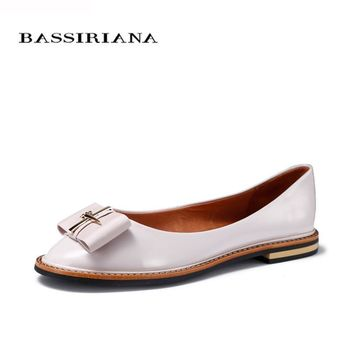 BASSIRIANA 2017 Shoes Woman Genuine Leather Flats Ladies Shoes High Quality Shoes For