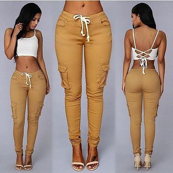 Drawstring Casual Harem Slim 9/10 Feet Pants