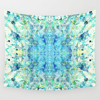 Aqua & Mint Symmetrical Watercolor Abstract Wall Tapestry by TigaTiga Artworks
