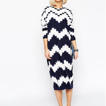 Navy Chevron Pattern Long Sleeve Midi Dress