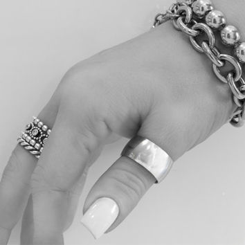 Thumb Ring Large Ring Wide Ring Smooth Plain Design High Polished Silver Steel Womens Mens Thumb Ring Size 7 8 9 10 11 12 13