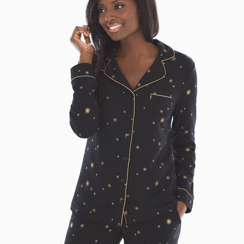 Soma Long Sleeve Notch Collar Pajama Top Star Bright Black