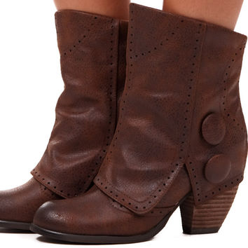 Tan Overlay Ankle Button Boot
